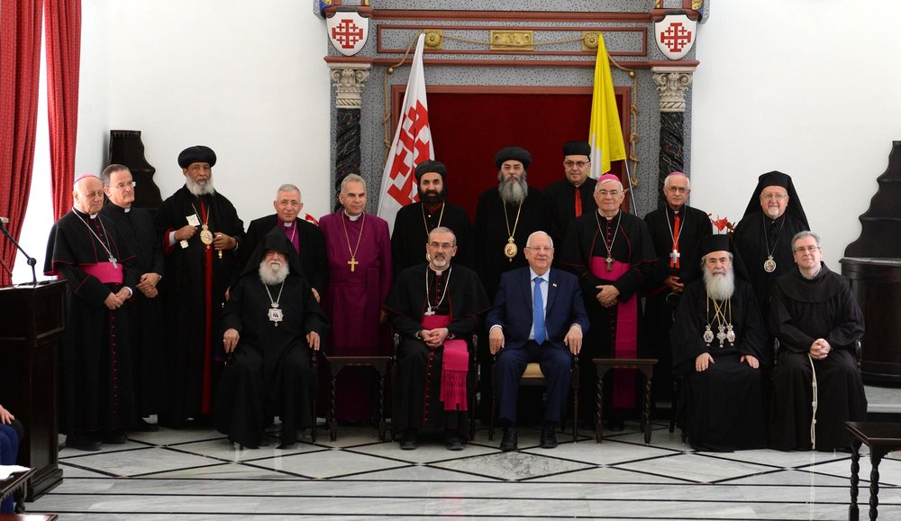 Israeli President Reuven Rivlin with leaders of Jerusalem's Christian community. Credit: Mark Neiman/GPO.