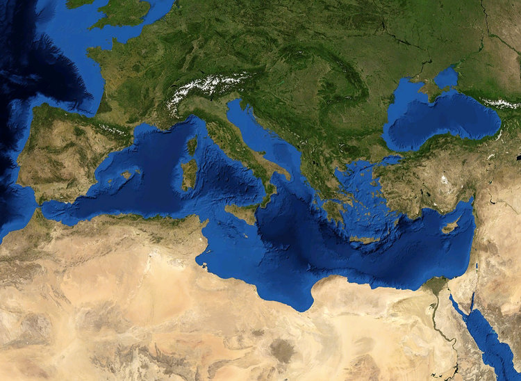 A satellite image of the Mediterranean Sea. The future Israel-Europe gas pipeline will run 1,200 miles undersea between the Jewish state and Italy. Credit: Eric Gaba/NASA World Wind.