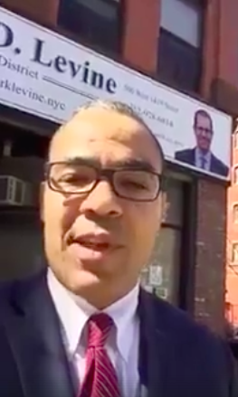 New York City Council candidate Thomas Lopez-Pierre makes his anti-Semitic comments on Israel's Holocaust Remembrance Day. Credit: Thomas Lopez-Pierre video screenshot.