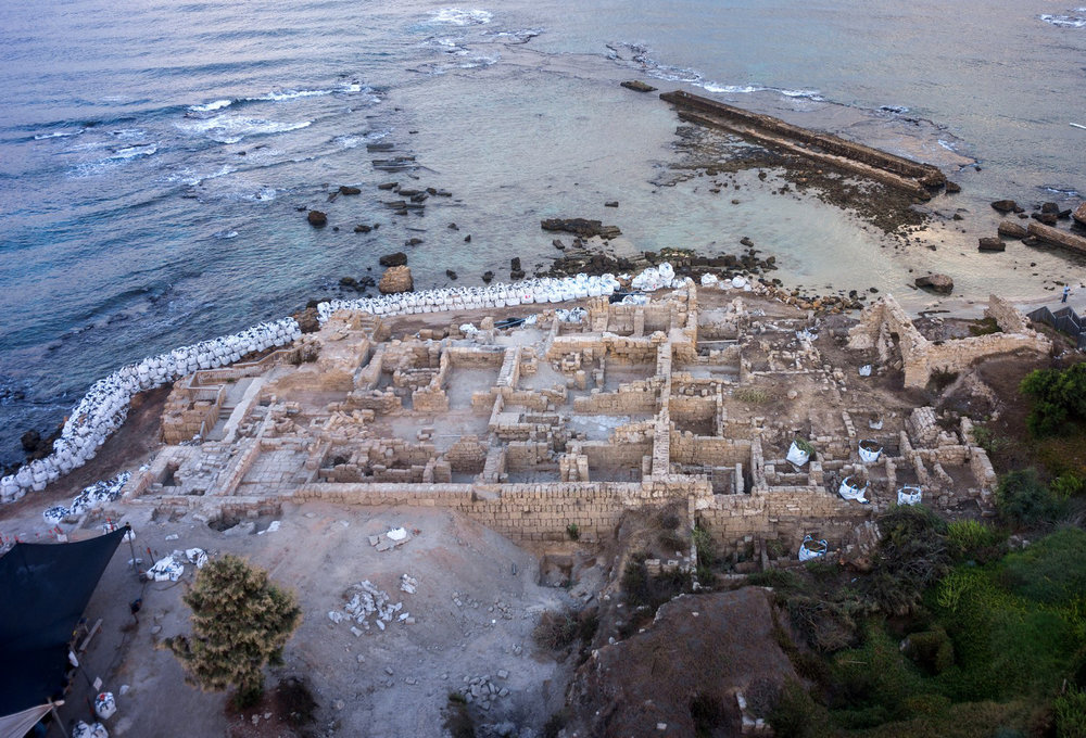 An aerial view of renovation work in Caesarea's harbor. Credit: Griffin Aerial Photography.