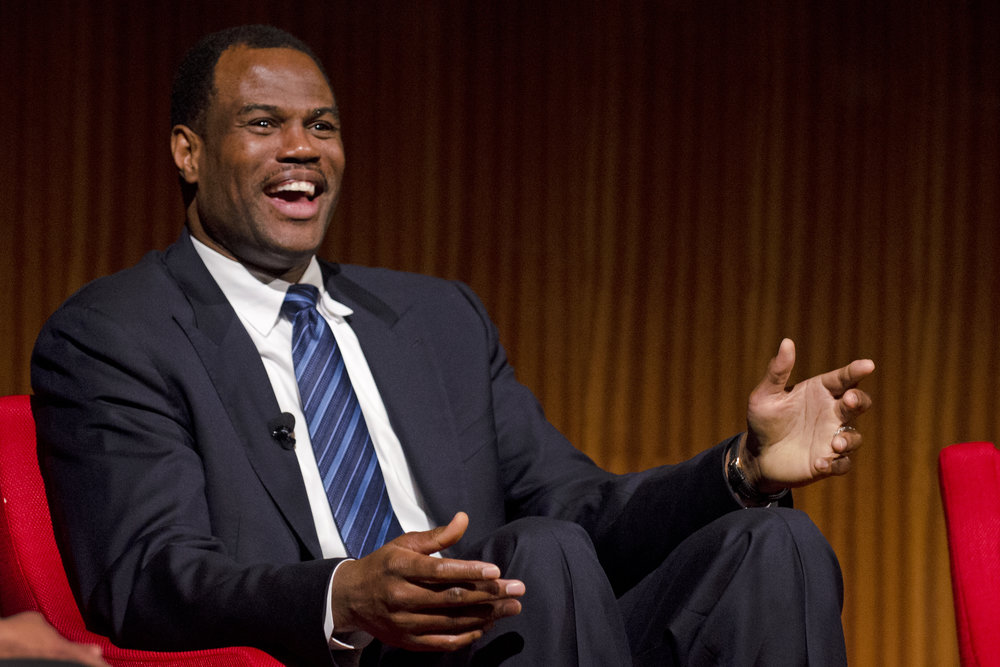 Former NBA All-Stars, including center David Robinson (pictured) of the San Antonio Spurs, will host a summer camp in Israel. Credit: LBJ Library via Wikimedia Commons.