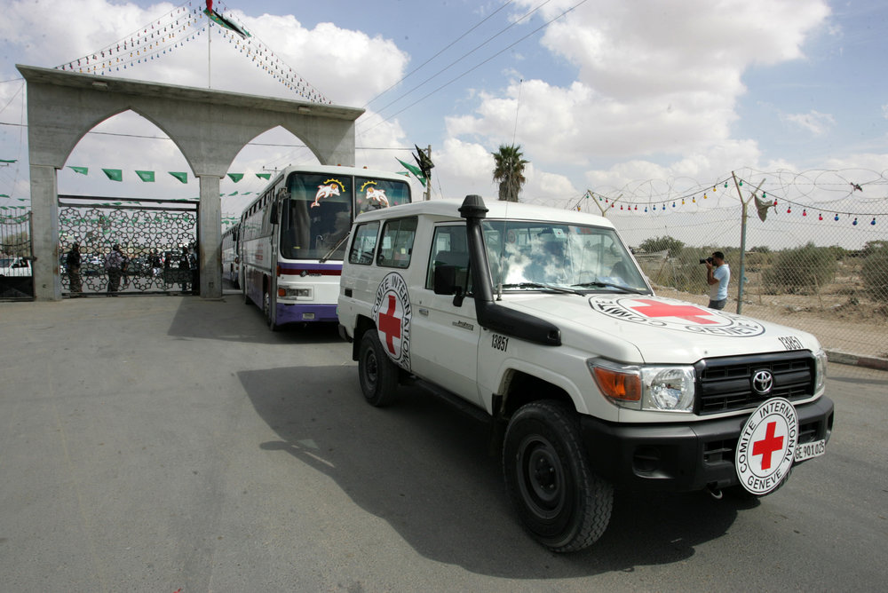 A Red Cross vehicle arrives at the Rafah border crossing in southern Gaza, Oct. 17, 2011. Credit: Abed Rahim Khatib/Flash 90.