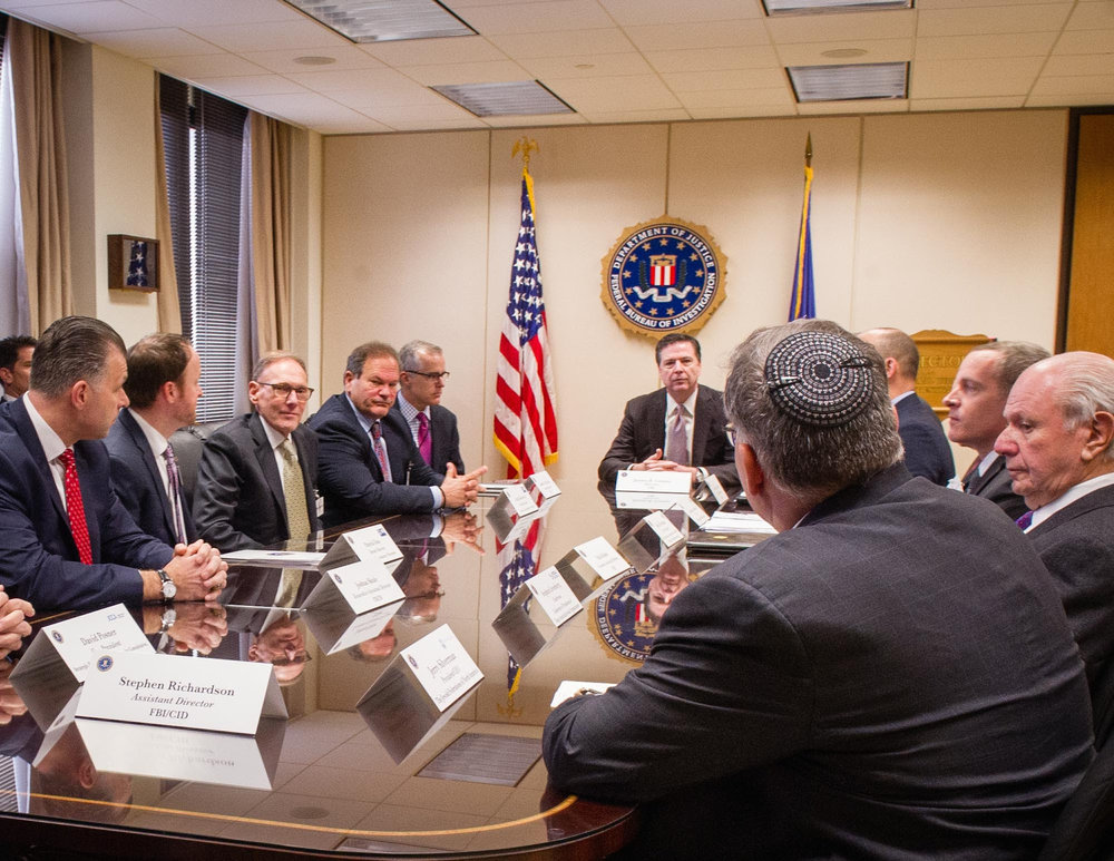 Jewish leaders meet March 3 with FBI Director James Comey and other federal officials to discuss this year's wave of threats and attacks against Jewish institutions in the U.S. Credit: Conference of Presidents of Major American Jewish Organizations.