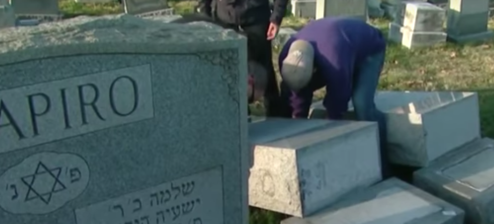 Overturned headstones at Philadelphia's Mount Carmel Cemetery, a Jewish cemetery, in February 2017. Credit: YouTube.
