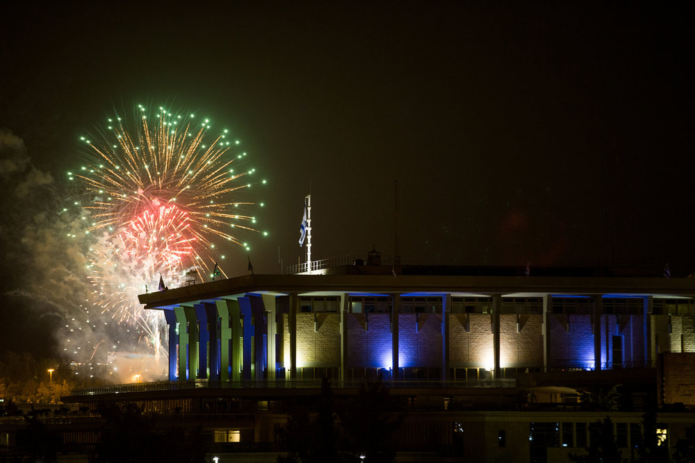 Fireworks from the Mount Herzl cemetery seen over the Knesset in Jerusalem, marking Israel's 69th Independence Day, May 1. Credit: Yonatan Sindel/Flash90.