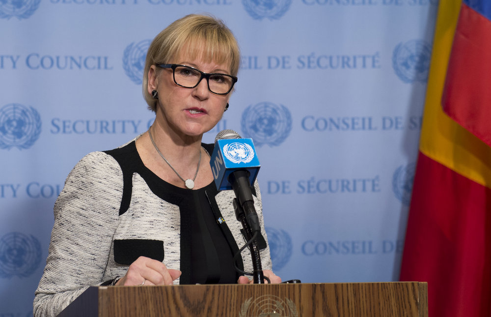 "Swedish Foreign Minister Margot Wallstrom addresses reporters at the United Nations Security Council's open debate on conflict prevention and sustaining peace Jan. 10, 2017. Following Sweden's vote in favor of an anti-Israel UNESCO resolution May 2, Israeli Foreign Ministry spokesman Emmanuel Nahshon noted that Wallstrom ""has made numerous anti-Israel declarations."" Credit: UN Photo/Mark Garten."