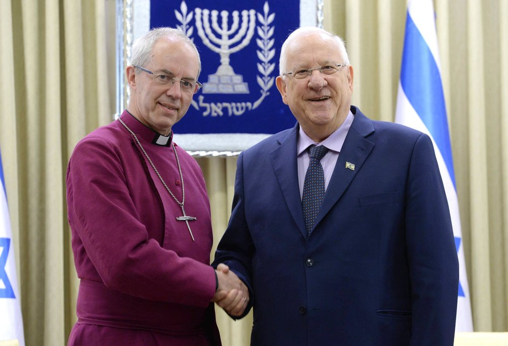 Archbishop of Canterbury Justin Welby (left) and Israeli President Reuven Rivlin in Jerusalem, May 9. Credit: Mark Neiman/GPO.
