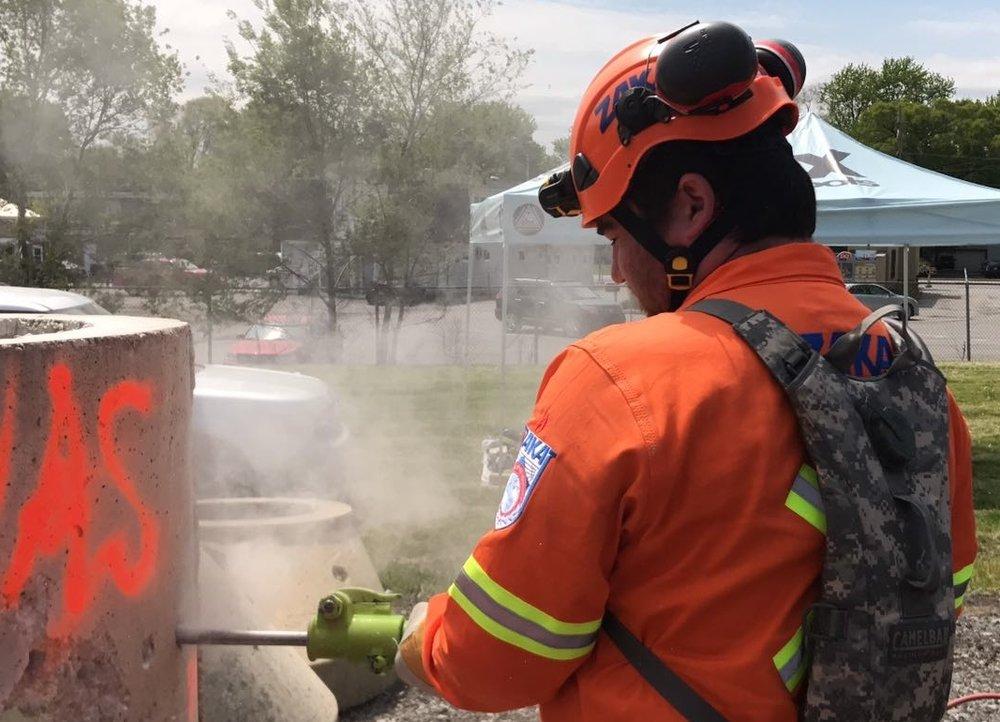 An Israeli ZAKA emergency response volunteer participates in a U.S. National Guard drill in Indiana this week. Credit: Courtesy ZAKA.