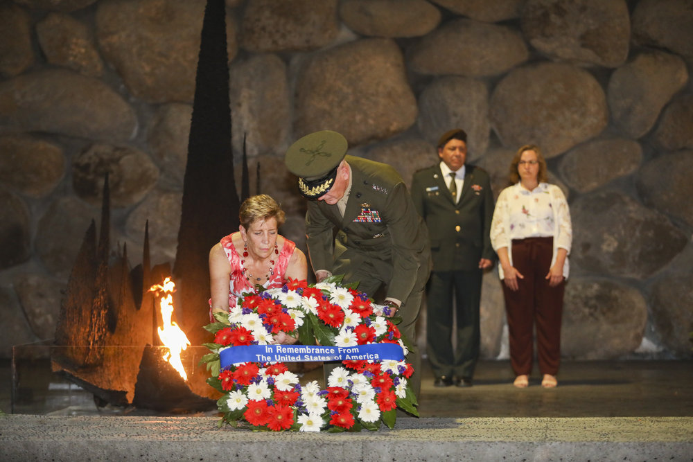 U.S. Chairman of Joint Chiefs of Staff Gen. Joseph Dunford lays a wreath at the Yad Vashem Holocaust memorial in Jerusalem, May 9, during his official visit to Israel. Credit: Noam Revkin Fenton/Flash90.