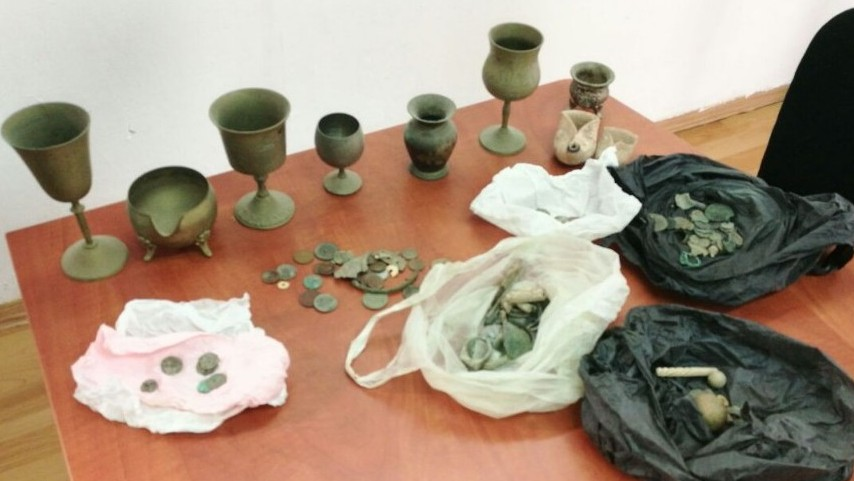 The stolen Jewish antiquities Israeli authorities recovered near Hebron. Credit: Israel Police.