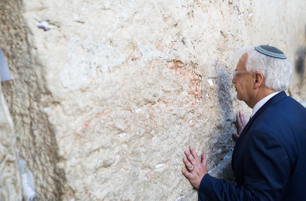 U.S. Ambassador to Israel David Friedman prays at the Western Wall in Jerusalem, May 15, 2017. Credit: Rob Ghost/Flash90.