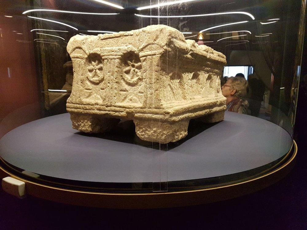 The Magdala Stone gets its public debut at the Nel Braccio Di Carlo Magno Museum in the Vatican's St. Peter's Square. Credit: Magdala Center.