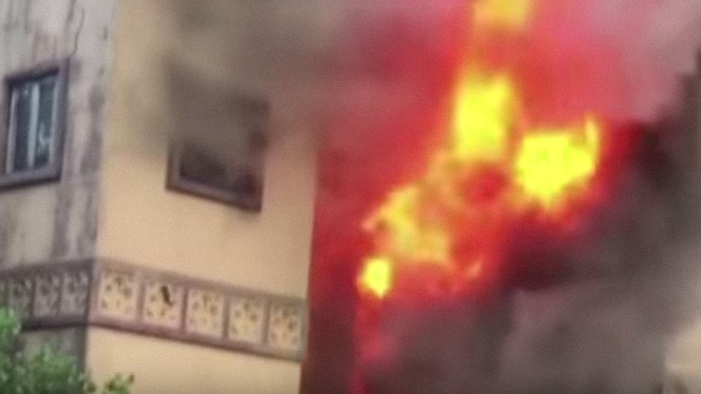 The fire at New York's historic Beth Hamedrash Hagadol synagogue. Credit: YouTube.