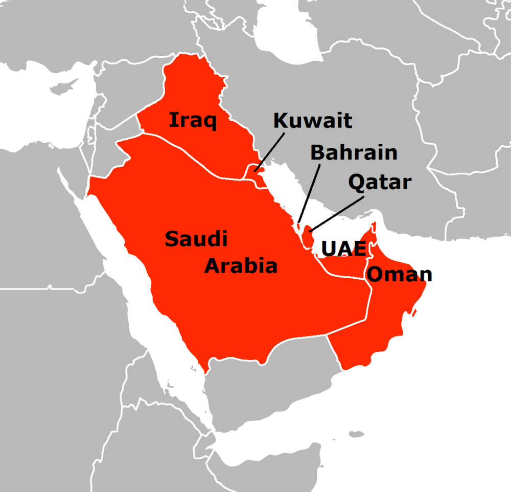 A map of the Arab states of the Persian Gulf. Credit: SpLoT via Wikimedia Commons.