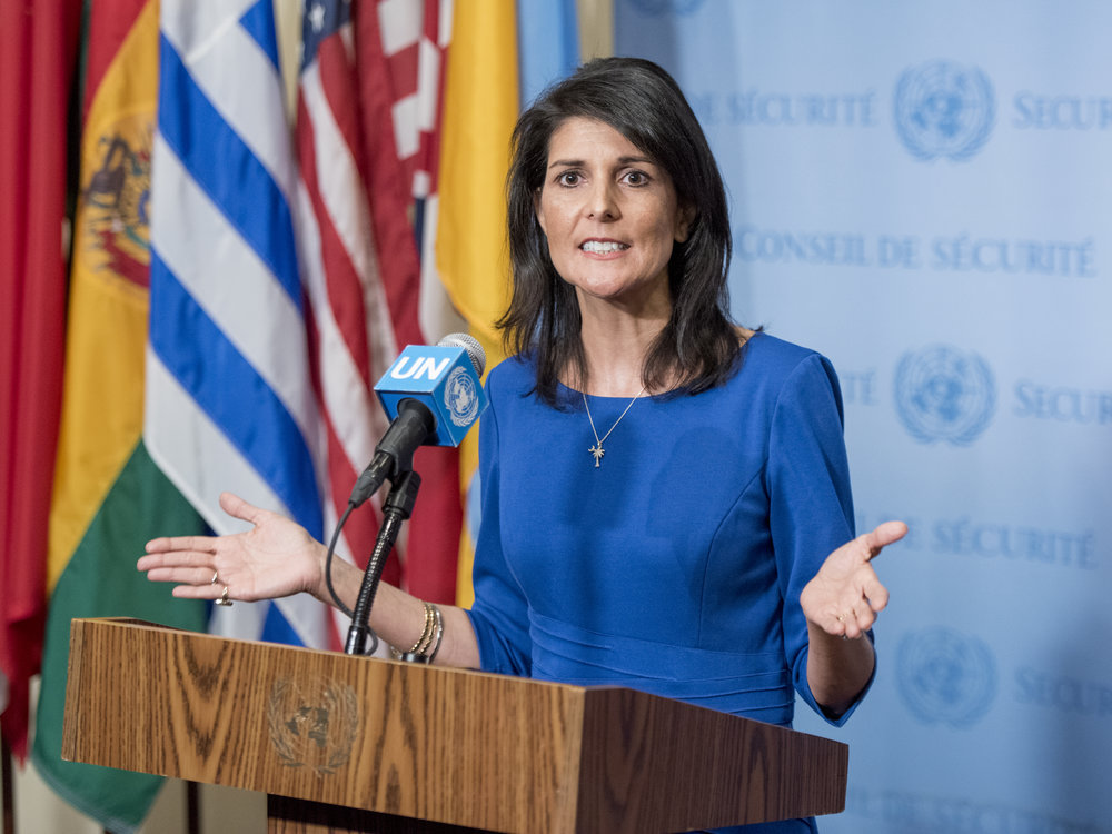 U.S. Ambassador to the United Nations Nikki Haley addresses reporters following a Security Council meeting in February on the situation in the Middle East, including the Israeli-Palestinian conflict. Credit: UN Photo/Cia Pak.