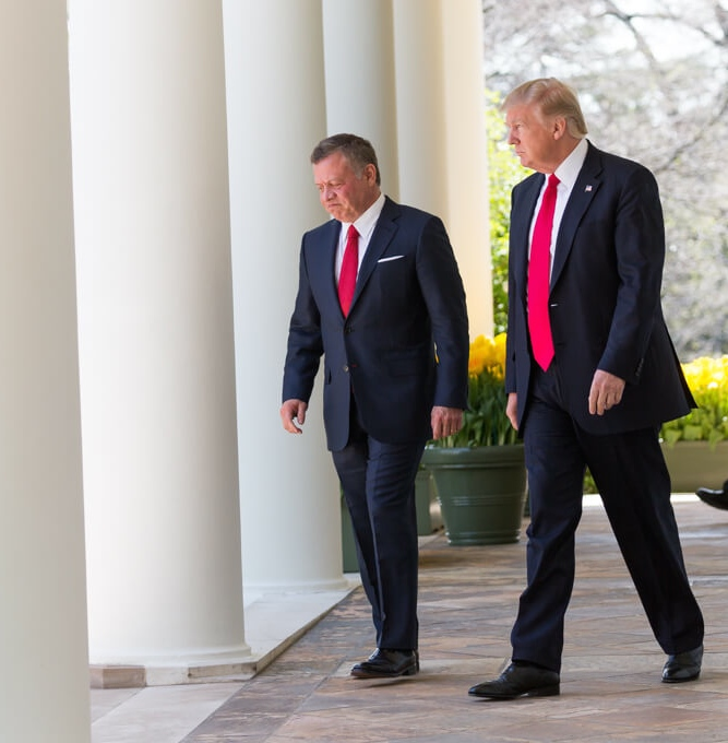 President Donald Trump (right) and King Abdullah II of Jordan at the White House April 5, 2017. Credit: Shealah Craighead/White House.