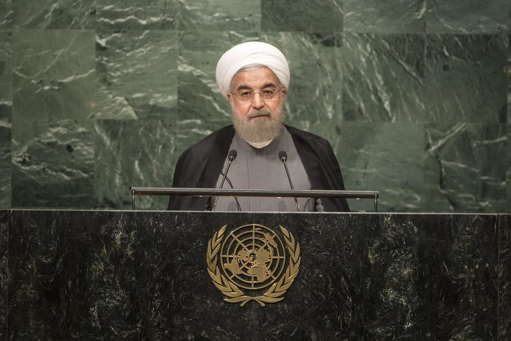 Iranian President Hassan Rouhani addresses the 71st United Nations General Assembly in New York City, Sept. 22, 2016. Credit: UN Photo/Cia Pak.