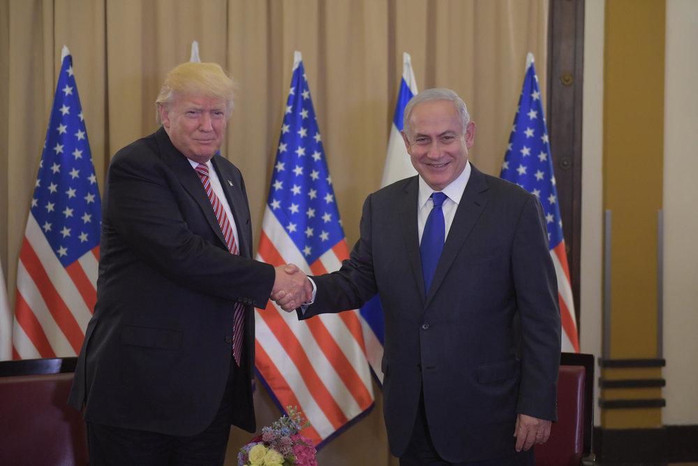 President Donald Trump and Prime Minister Benjamin Netanyahu meet in Jerusalem Monday. Credit: Amos Ben-Gershom/GPO.