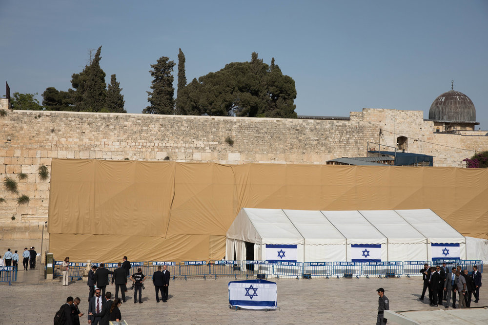 A view of the special arrangements at Jerusalem's Western Wall to accommodate President Donald Trump's historic visit to the holy site May 22, 2017. Credit: Nati Shohat/Flash90.