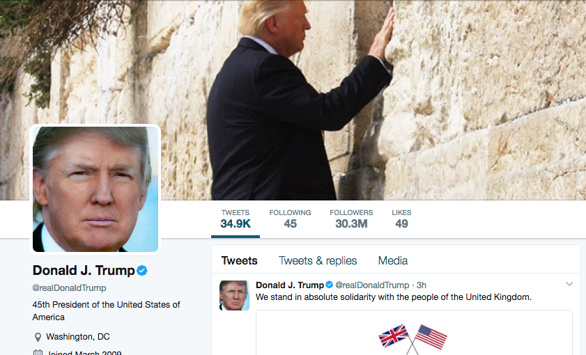 President Donald Trump's Twitter page (pictured) was changed Monday to feature a photo of the American leader's visit to the Western Wall. Credit: Twitter.