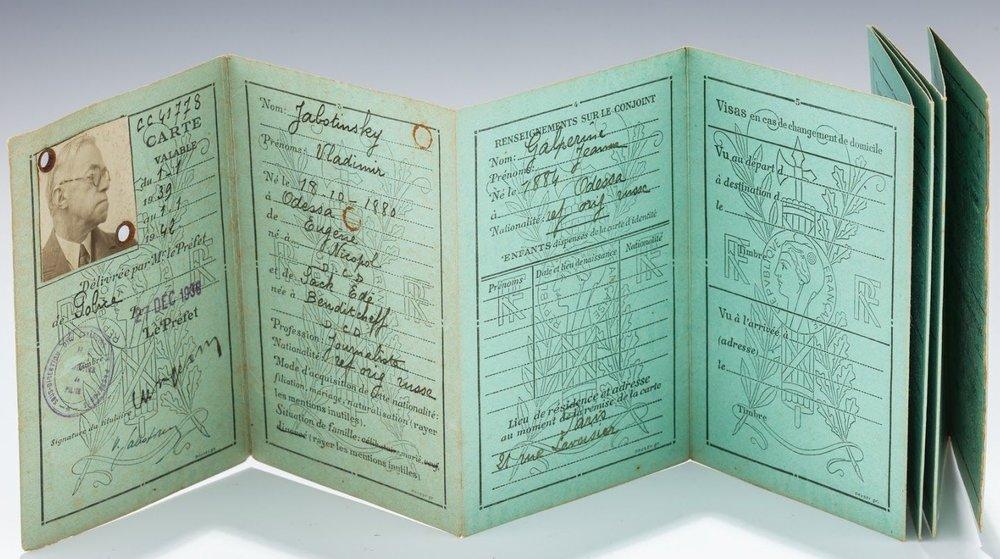 Zionist pioneer Ze'ev Jabotinsky's passport. Credit:J. Greenstein & Company
