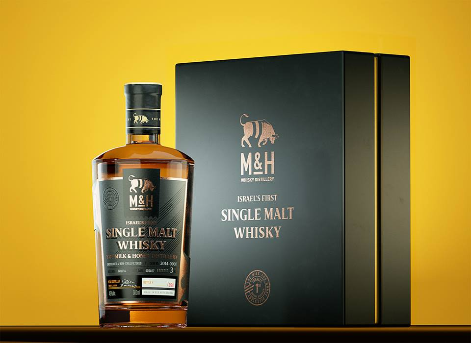 A bottle of the Israel-based Milk & Honey Distillery's single malt whisky. Credit: Milk & Honey Distillery via Facebook.