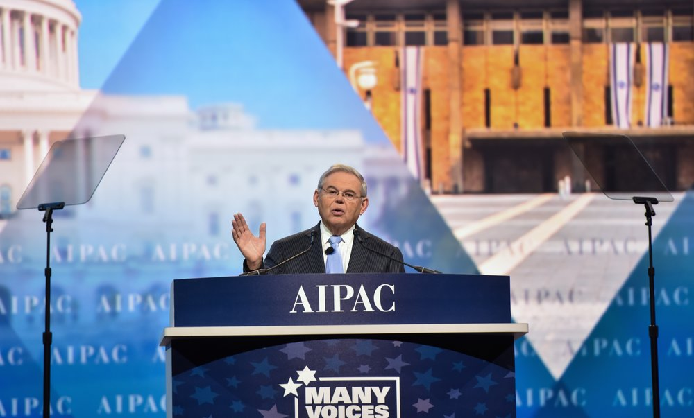 "New Jersey's Democratic Sen. Bob Menendez (pictured here addressing the 2017 AIPAC policy conference in March) told JNS.org he has ""deep concerns"" about the Palestinian Authority's payments to terrorists and their families. Credit: AIPAC."