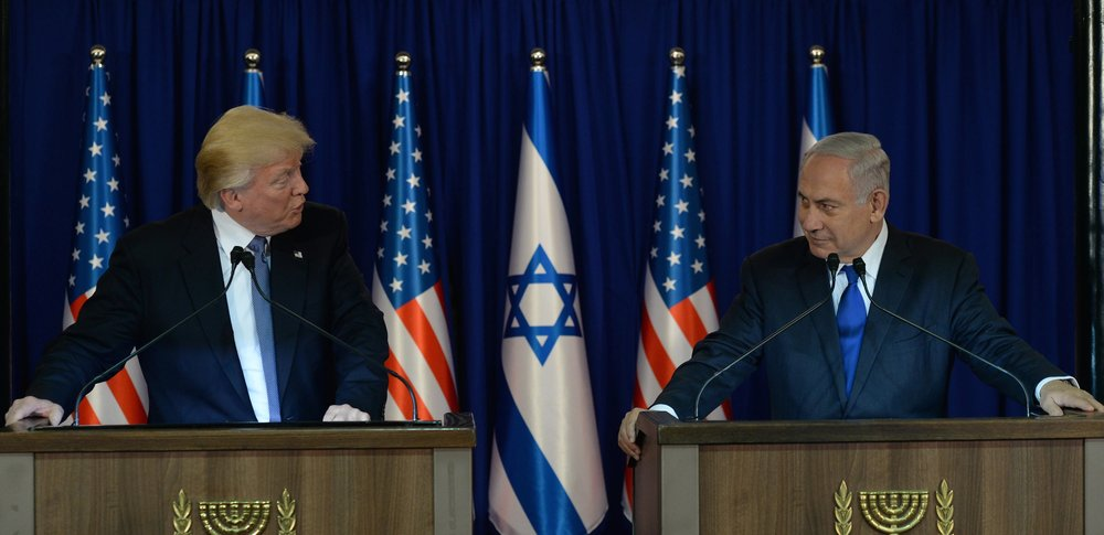 President Donald Trump (left) and Prime Minister Benjamin Netanyahu make joint remarks in Jerusalem, May 22, 2017. Credit: Haim Zach/GPO.