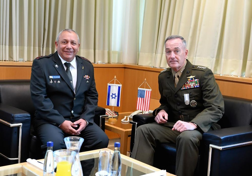 U.S. Chairman of the Joint Chiefs of Staff Gen. Joseph Dunford (right) meets with IDF Chief of Staff Lt. Gen. Gadi Eizenkot in Israel, May 8. Credit: Matty Stern/U.S. Embassy Tel Aviv.
