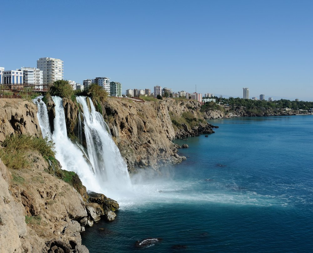 The Lower Düden Waterfalls in Antalya, Turkey. Credit: Saffron Blaze via Wikimedia Commons.