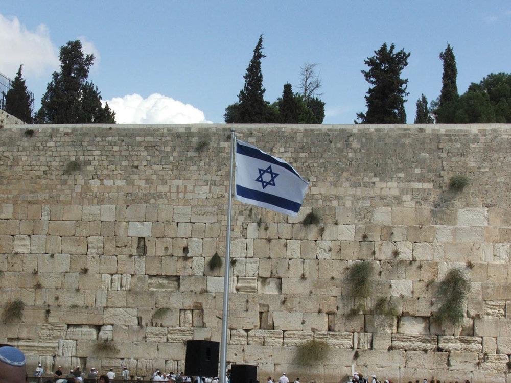 The Israeli flag at Jerusalem's Western Wall. Credit:Hynek Moravec via Wikimedia Commons.