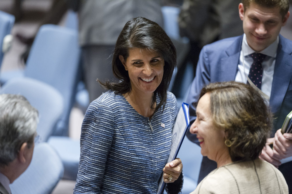 U.S. Ambassador to the United Nations Nikki Haley (center). Credit: UN Photo/Rick Bajornas.