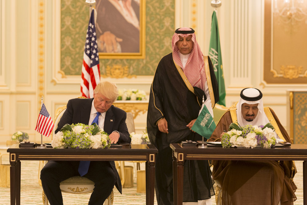 President Donald Trump (left) and Saudi Arabia's King Salman sign a Joint Strategic Vision Statement for the United States and the Kingdom of Saudi Arabia at the Royal Court Palace in Riyadh, May 20. Credit: Shealah Craighead/White House.