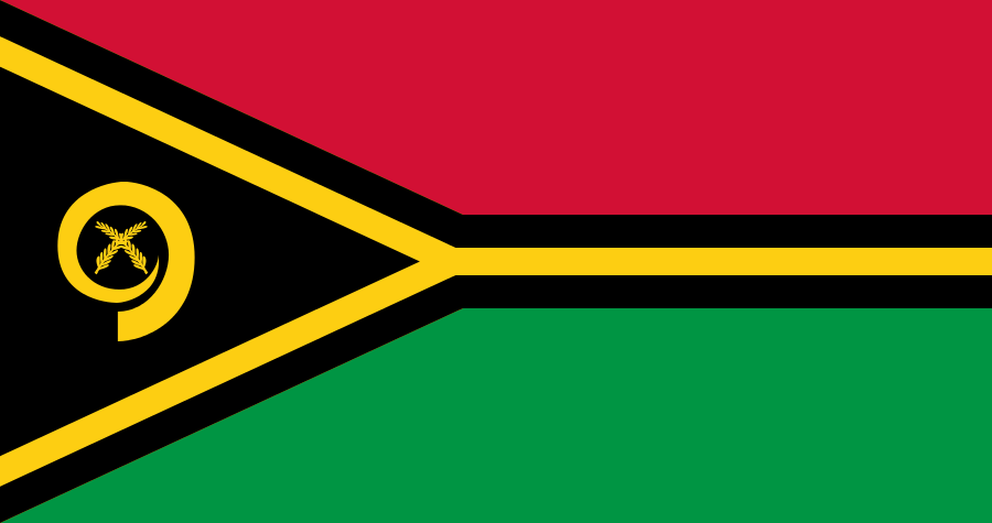 The flag of Vanuatu. Credit: Wikimedia Commons.