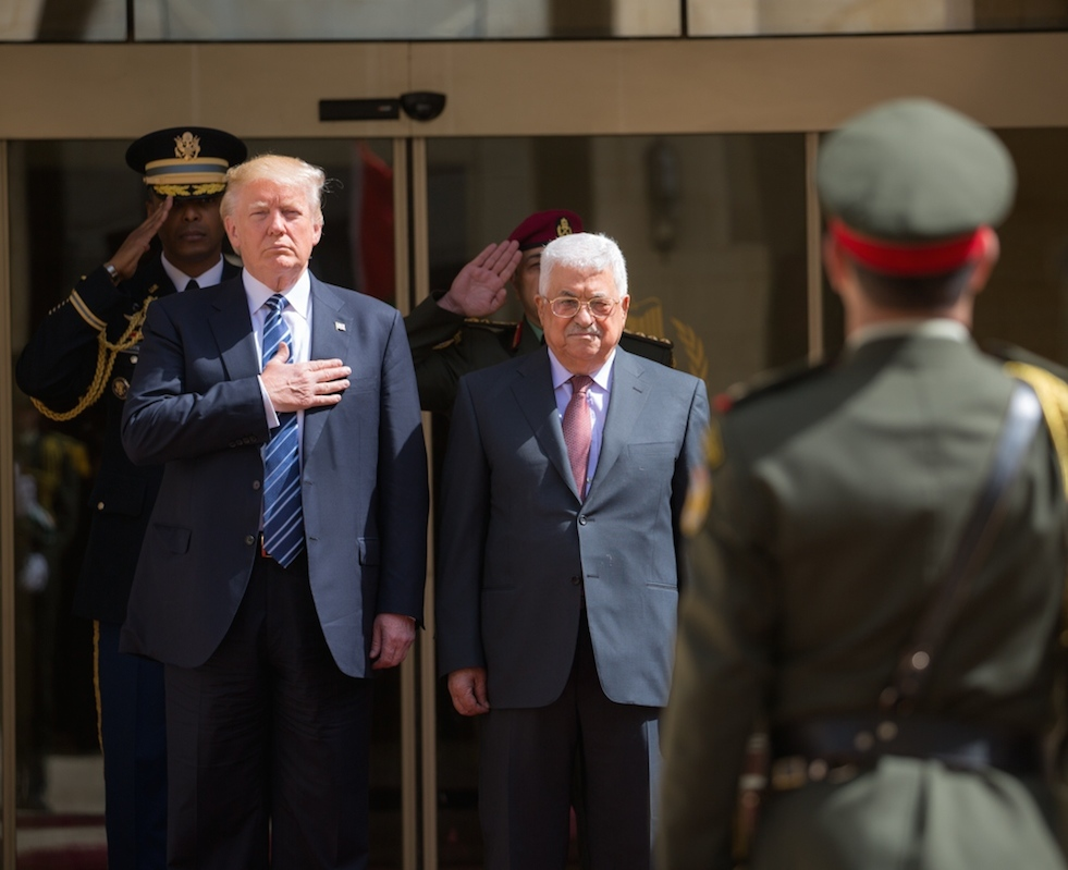 President Donald Trump (left) and Palestinian Authority President Mahmoud Abbas (center) in Bethlehem, May 23. Credit: Shealah Craighead/White House.