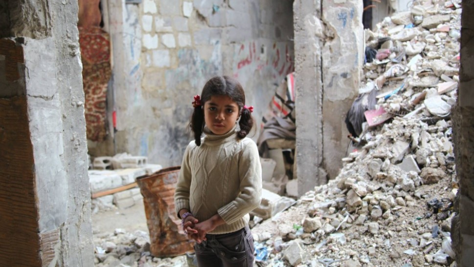 The photo of a girl in Syria that UNRWA controversially used for a campaign to raise money for Palestinians in Gaza. Credit: Facebook.