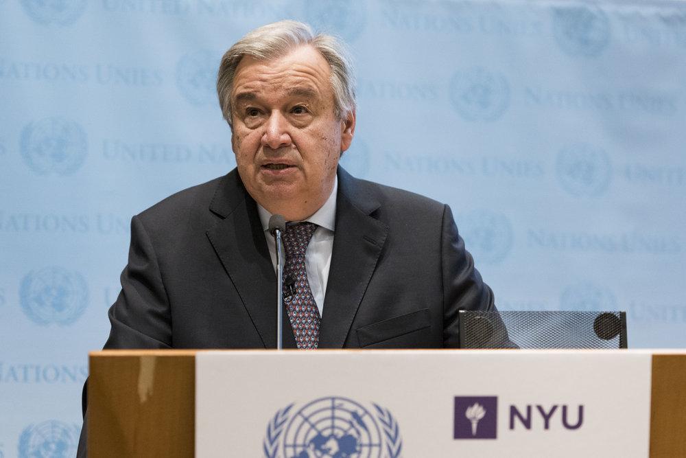 United Nations Secretary-General Antonio Guterres speaks May 30 in New York. Credit: UN Photo/Mark Garten.