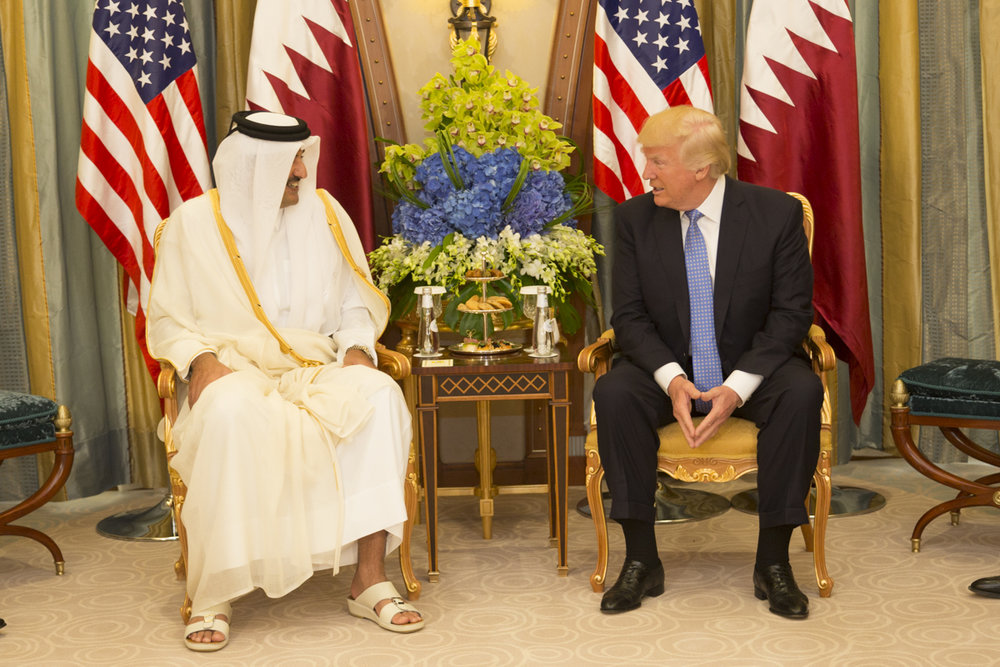 President Donald Trump (right) meets with the Emir of Qatar Sheikh Tamim bin Hamad Al Thani in Saudi Arabia, May 21. Yet June 6, Trump took to Twitter to blast Qatar's financial support for terrorism. Credit: Shealah Craighead/White House.