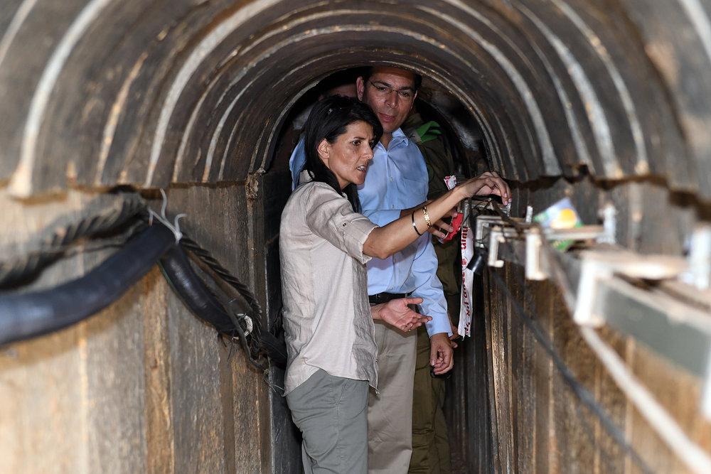 U.S. Ambassador to the U.N. Nikki Haley, along with Israel's Ambassador to the U.N. Danny Danon, tours a terror tunnel built by Hamas during her visit to the Israel-Gaza border June 8, 2017. Credit: Matty Stern/U.S. Embassy Tel Aviv/Flash90.