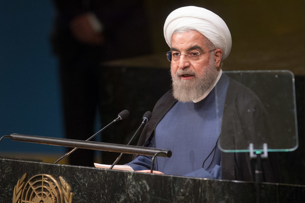 Iranian President Hassan Rouhani addresses the United Nations General Assembly in September 2015. Credit: UN Photo/Loey Felipe