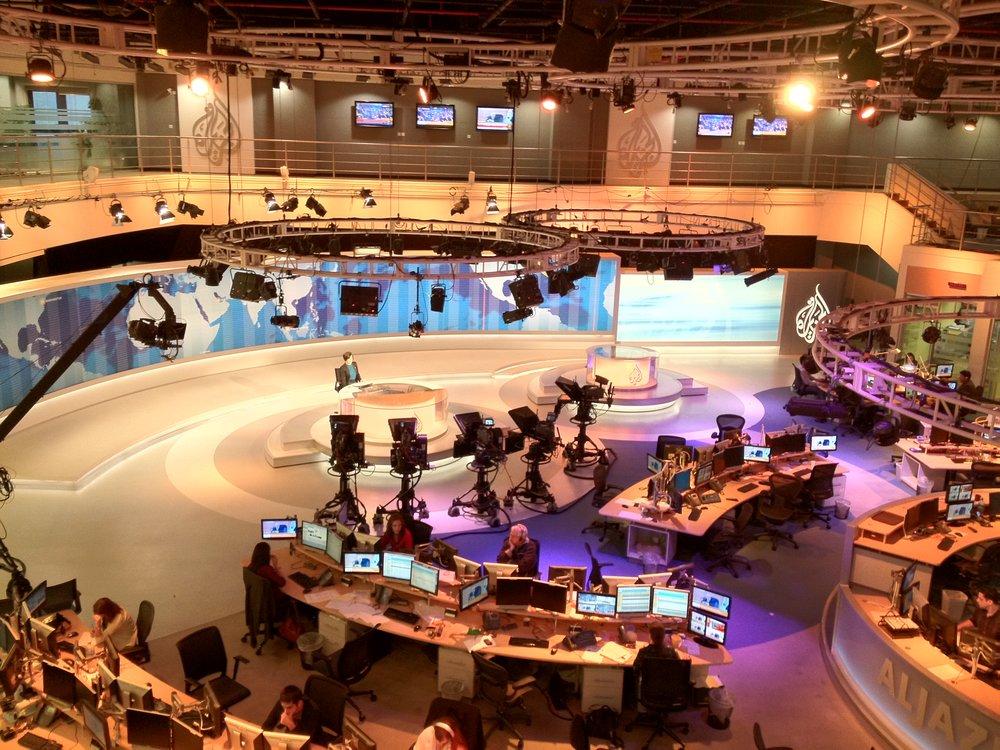 Al Jazeera's English newsroom in Doha, Qatar. Credit: Wikimedia Commons.