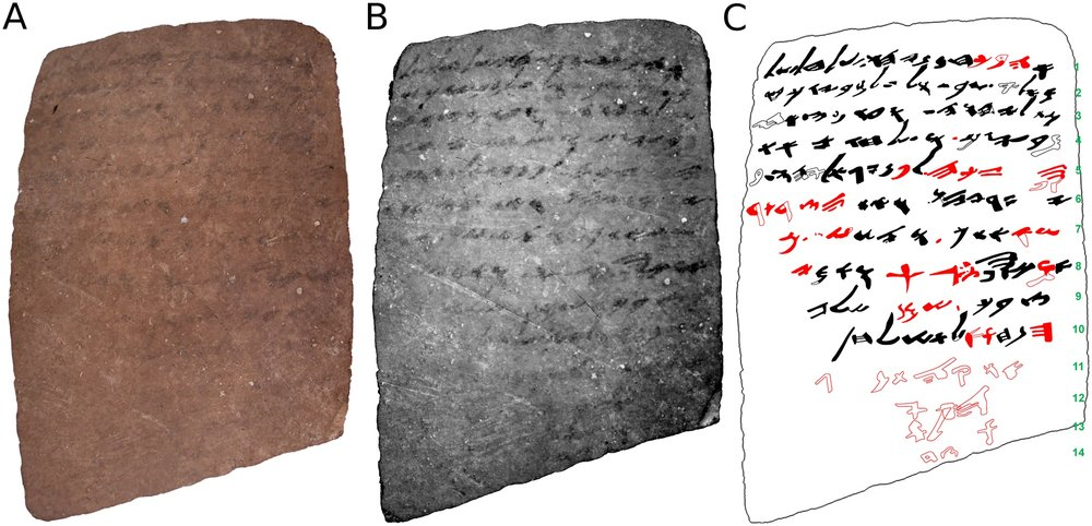 Images of the back of the shard with the biblical inscription that was unnoticed for a half century. Credit: Tel Aviv University/PLOS.org.