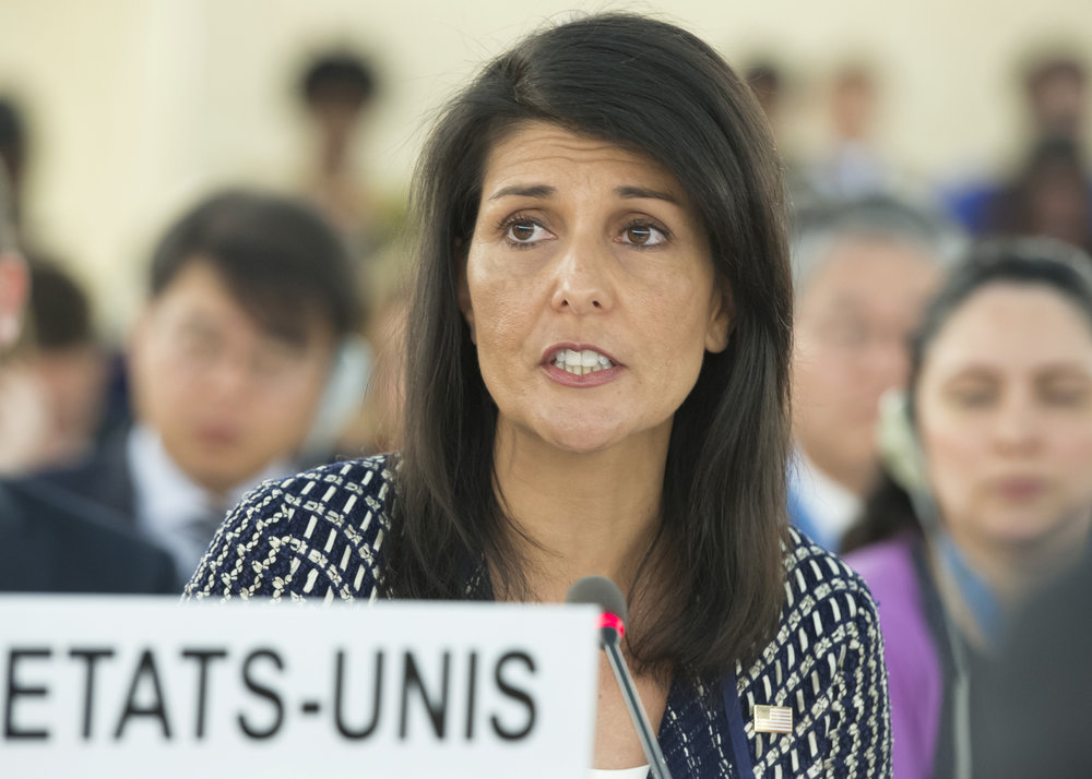 U.S. Ambassador to the United Nations Nikki Haley addresses the 35th session of the U.N. Human Rights Council in Geneva, June 6. Credit: U.N. Photo/Jean-Marc Ferré.
