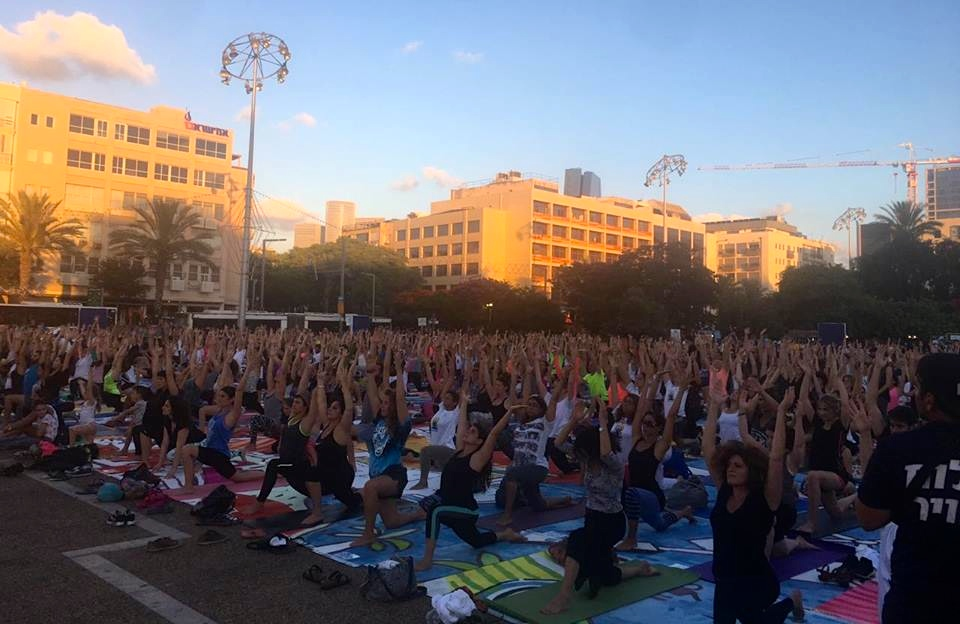 Israelis mark International Day of Yoga in Tel Aviv. Credit: Facebook.