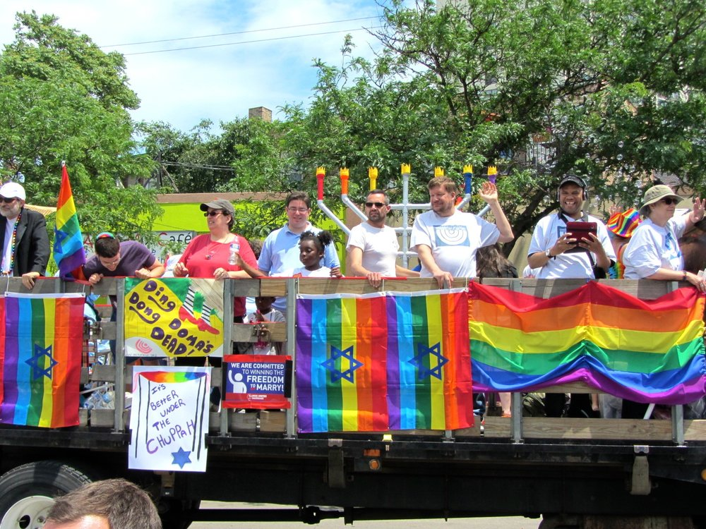 A Jewish gay pride float at Chicago's gay pride parade in 2013. (Illustrative.) Credit: Wikimedia Commons.