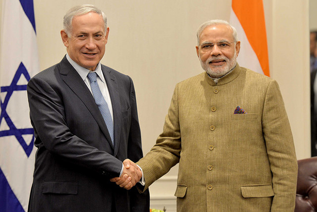 Prime Ministers Benjamin Netanyahu and Narendra Modi in 2014. Credit: Wikimedia Commons.