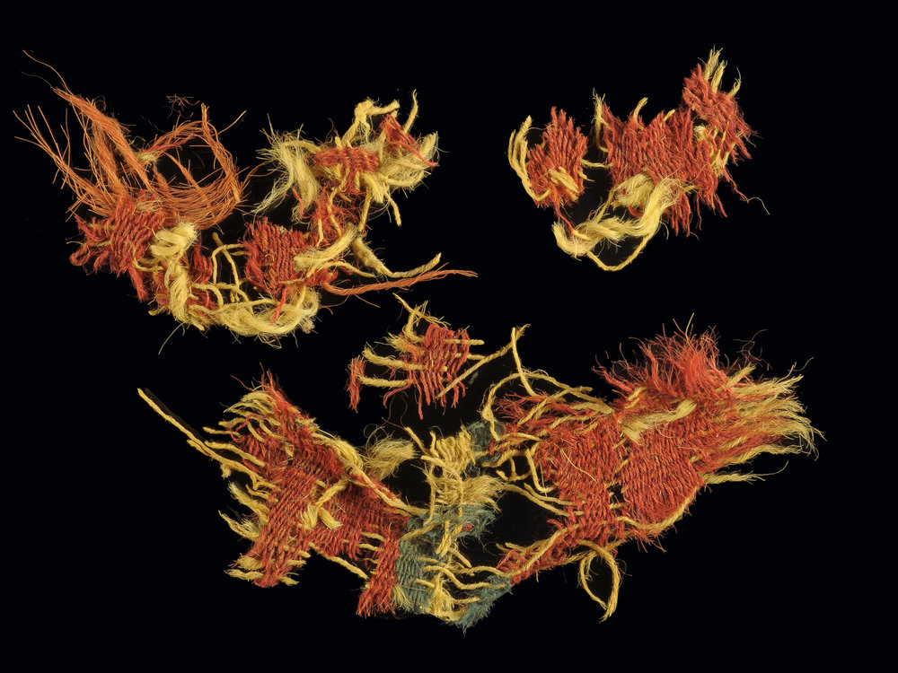One of the textiles dyed with a red-and-blue pattern that was discovered in southern Israel's Timna Valley. Israeli researchers say the textiles were used during the time of Kings David and Solomon. Credit: Dr. Naama Sukenik/Israel Antiquities Authority.