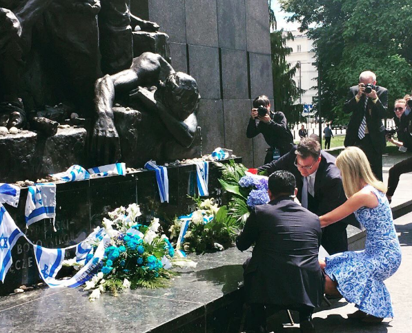 Ivanka Trump visits the Warsaw Ghetto memorial. Credit: Instagram.