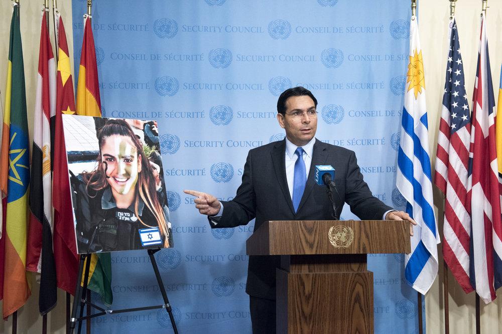 Israeli Ambassador to the United Nations Danny Danon briefs journalists in New York, June 29, 2017. Credit: U.N. Photo/Kim Haughton.