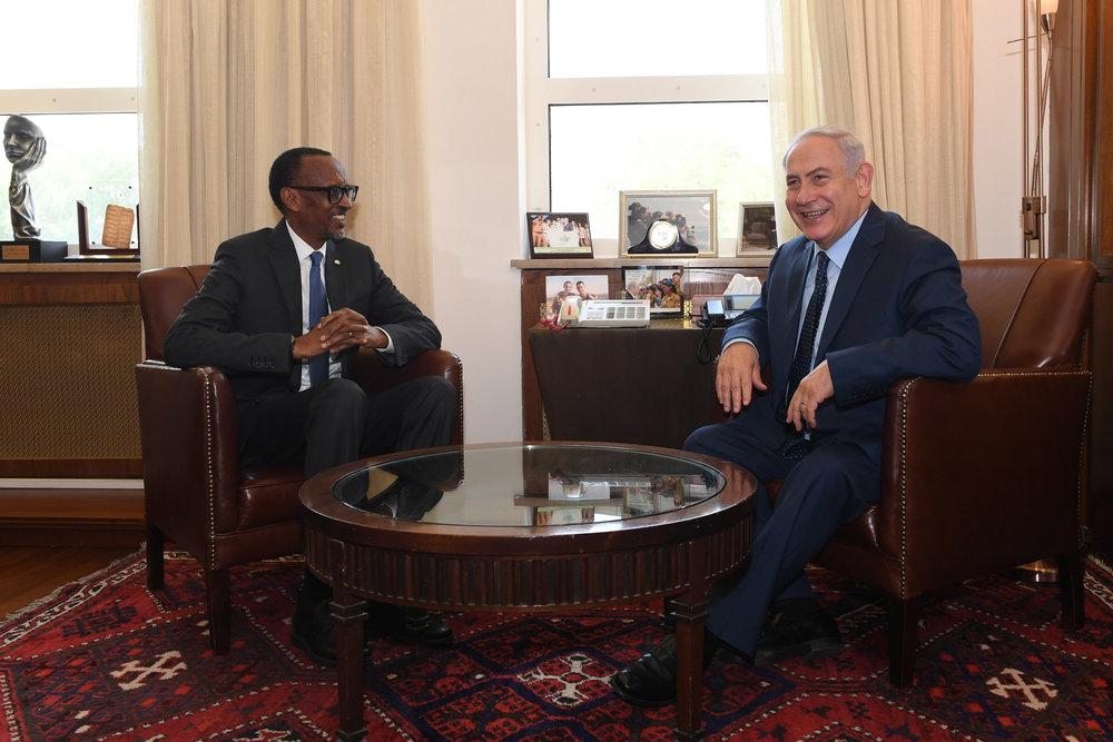 Rwandan President Paul Kagame meets with Israeli Prime Minister Benjamin Netanyahu in Jerusalem. Credit: Kobi Gideon/GPO.